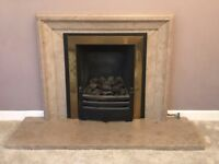 Original Purbeck stone hearth and surround and Fireplace