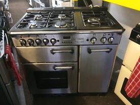 Stainless steel leisure 90cm five burners dual fuel cooker grill & double oven good condition with