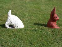 concrete dog and rabbit