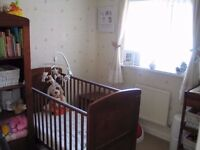 Babies R Us I Love My Bear Cotbed, Wardrobe, Toy Box, Changing Table, Curtains and Cot Bumper