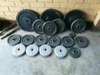 Weight plates. Weightlifting