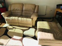 Beautiful Leather Recliner Sofa with Footstool/Loveseat