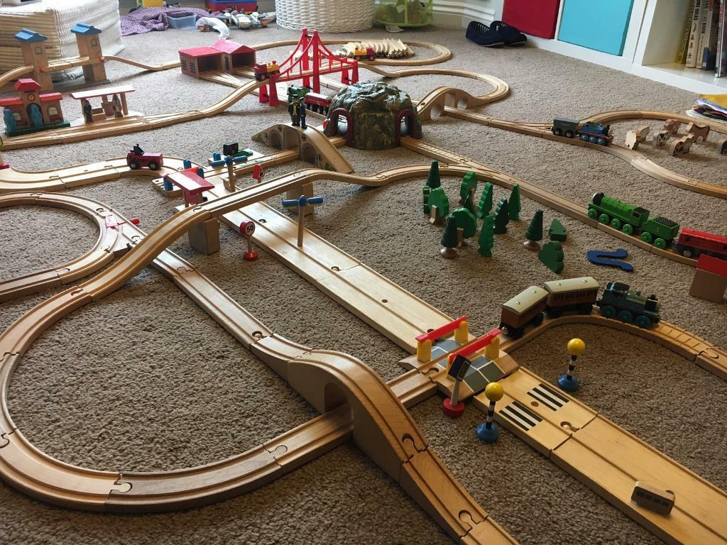 massive wooden train set including brio items and thomas the tank engine and friends in. Black Bedroom Furniture Sets. Home Design Ideas
