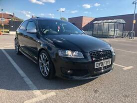 "AUDI S3 3 DOOR BLACK 2008 QUATTRO ""8P VERSION"" SUNROOF+12 MONTHS MOT"