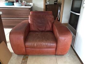 very large leather arm chair