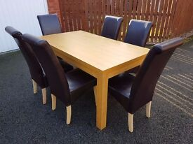 Oak Veneer Dining Table 160cm & 6 Brown Leather Chairs FREE DELIVERY (04525)