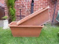 2x large plastic trough planters.