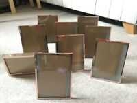9 x rose gold picture frames