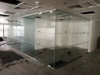 USED GLASS PARTITION SYSTEMS NEAR HANOVER SQUARE FOR £100 per LINEAR METRE