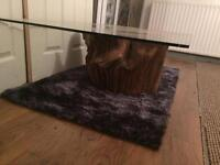 Bespoke Handmade Solid Wooden Tree Trunk Table with Glass Top