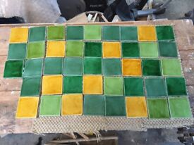 Fired Earth Glazed wall tiles - Provence style, some unused, some used. 63 total.