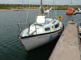 6 metre sailing yacht, recently refurbished, berthed at Peterhead marina.