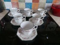 JOHNSON BROTHERS ETERNAL BEAU TEA CUPS & SAUCERS X6