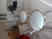 2 CHROME AND FAUX WHITE LEATHER BAR STOOLS