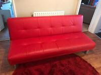 Double red leather futon sofa bed