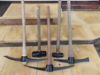 Sledge hammers and pick axes all £10 each