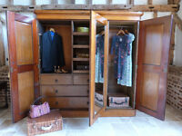 Classic Victorian Arts & Crafts rustic oak triple 3 door linen press wardrobe armoire