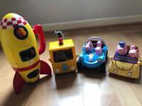 Peppa Pig Toy Bundle - Spaceship, Grandad Dog's Pick Up Truck, Cars