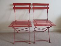 2 Metal Garden/Patio Folding Chairs – Red Colour