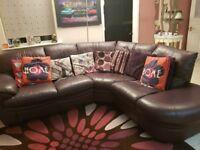 DFS Leather Corner Sofa Plum Colour Excellent Condition!!! £150 ONO