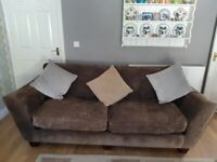 Large Three Seater Chenille Sofa