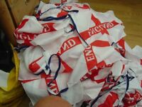 10 metres of fabric England Football bunting with large fabric St. George flags