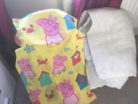 Cot bed quilt with peppa pig quilt cover