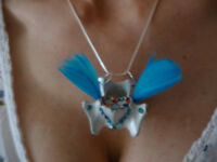 Vertebrae Pendant Necklace - Blue Feathers & Crystals Goth Curio Unique Cute