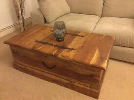 Wood trunk coffee table , toy storage