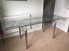 Chrome glass extendable dining table