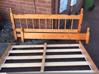 Double Bed Frame - Pine Double Bed Frame - Complete Double Bed Frame