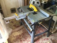 WOODSTAR ST12 315MM SITE SAW 240V WITH SLIDING TABLE AND STOP DEVICES.