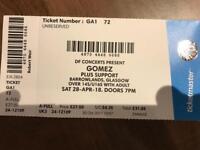Gomez Ticket Glasgow Barrowlands Sat 28th April