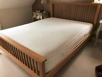 Oak KING bed frame and Tempur mattress from Heals