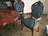 Oak carved table & 6 strong chairs