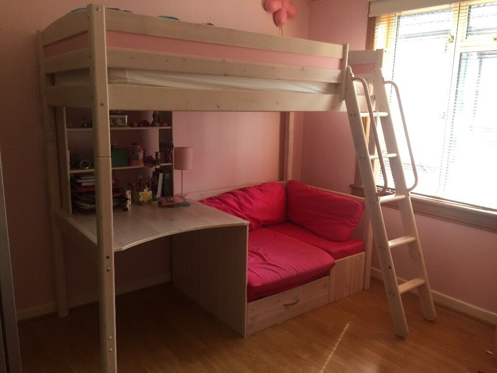 Girls Cabin Bed With Desk Hidden Storage And Sofa Pull