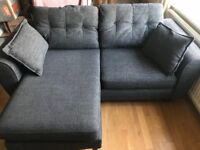 Black DFS 3 seater lounger and cuddler chair