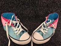 Pale blue and pink converse boots size 13.5