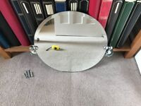 Circular bathroom mirror with fixings
