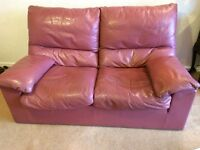 Cassina 2 seater leather sofa and armchair