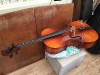 ¾ Size Cello with Bow and Case.
