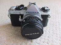 Pentax ME Super SLR camera and accessories