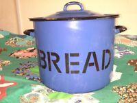 Enamel Bread Bin Blue