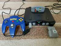Nintendo 64 console with 2 controllers inc official N64 pokemon controller and 1 game Fully Working