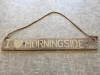 Morningside wooden hanging sign