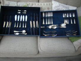 Elegant and beautiful silver cutlery set.