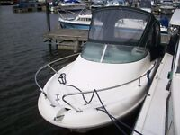 sports boat with 75hp outboard engine and trailer