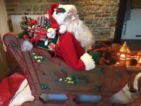 Musical Reindeer Santa & Sleigh