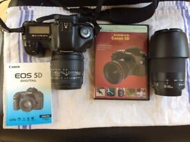 Canon EOS 5D Mk1 Full frame DSLR Camera with grip, memory card and two lenses. Excellent condition
