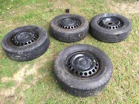 Vw T5 2005 steel wheels - 5x120 - transporter - van tyres - good tread